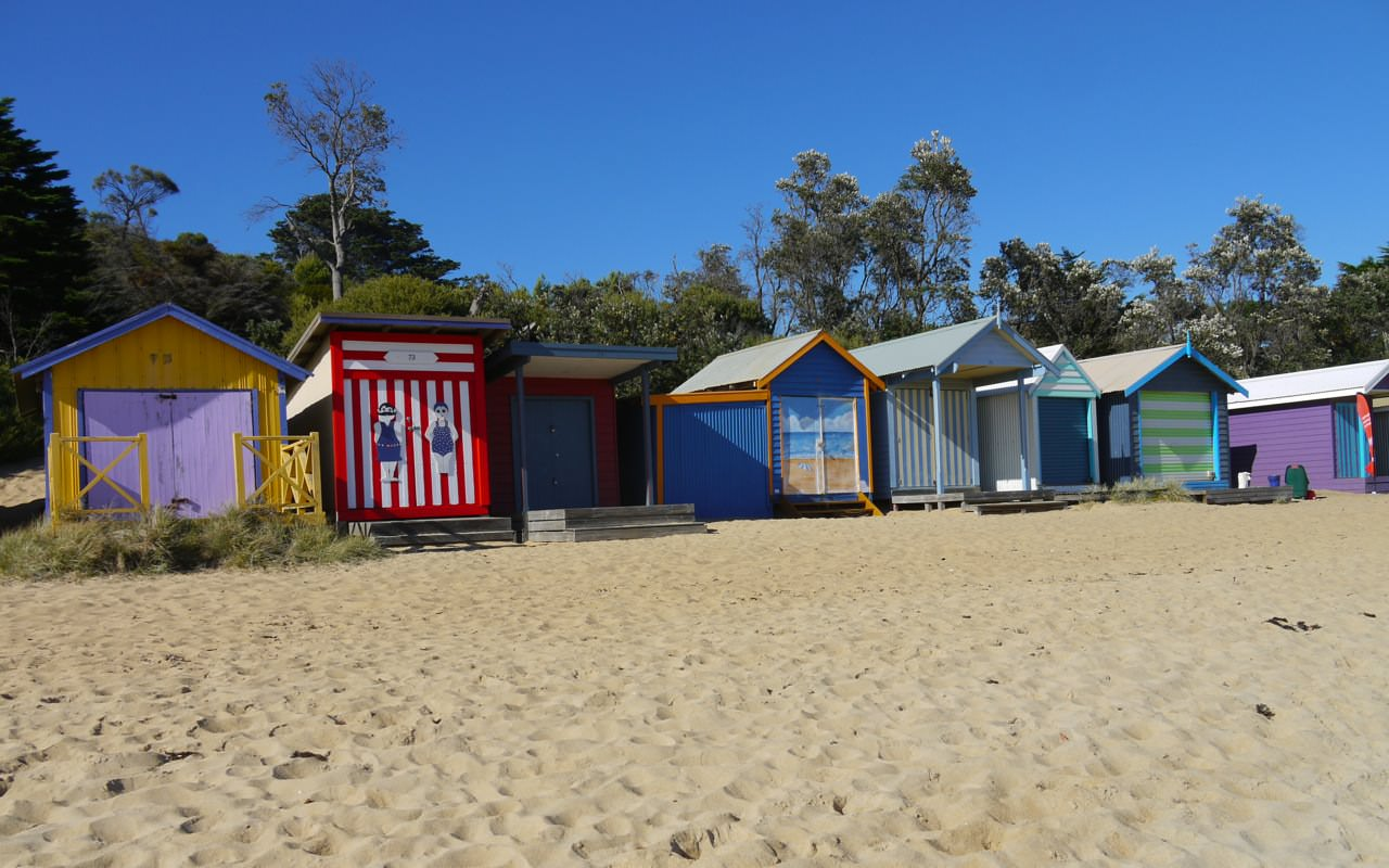 Colorful beach huts in Mornington near Melbourne