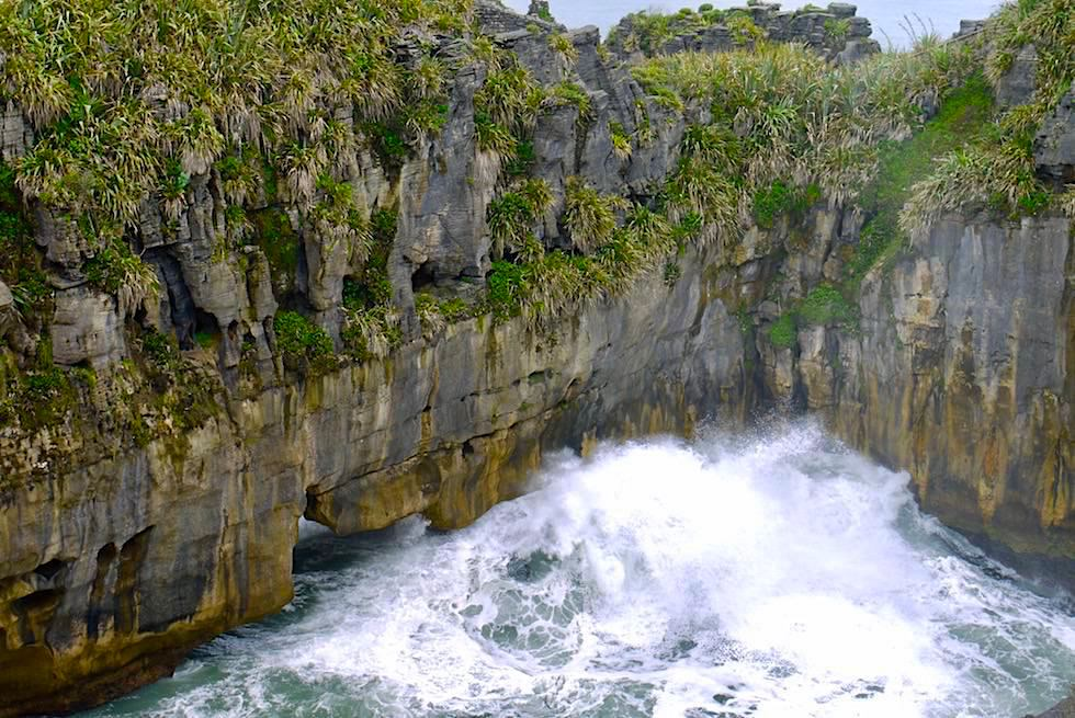 Pancake Rock - Natural Bridge und tosendes Meer - Paparoa National Park - West Coast - Südinsel Neuseeland