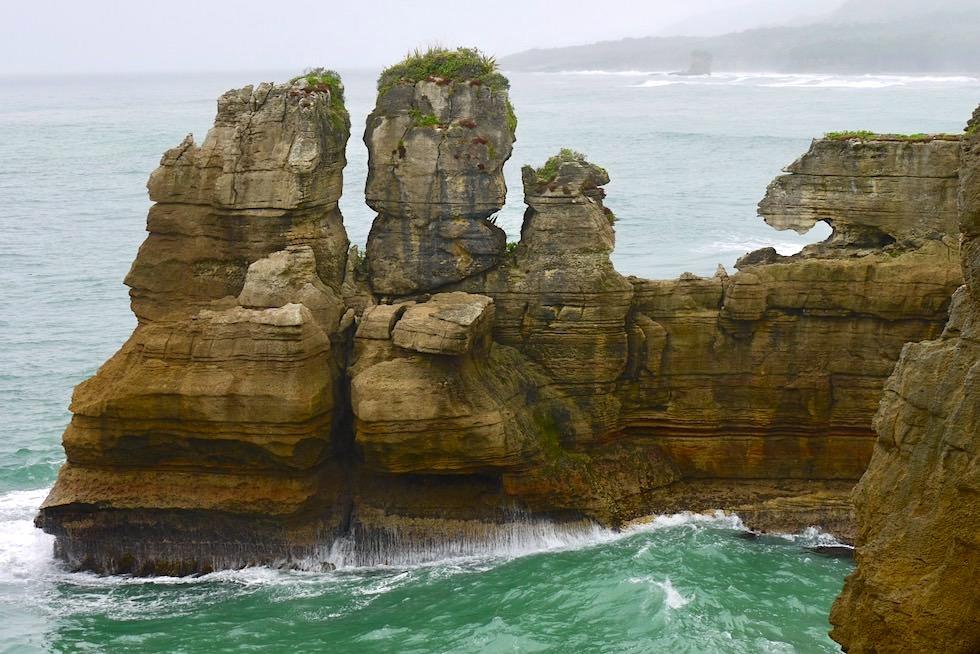 Pancake Rocks - Felsen Gesichter & Skulpturen - Paparoa National Park an der Westküste - Südinsel Neuseeland