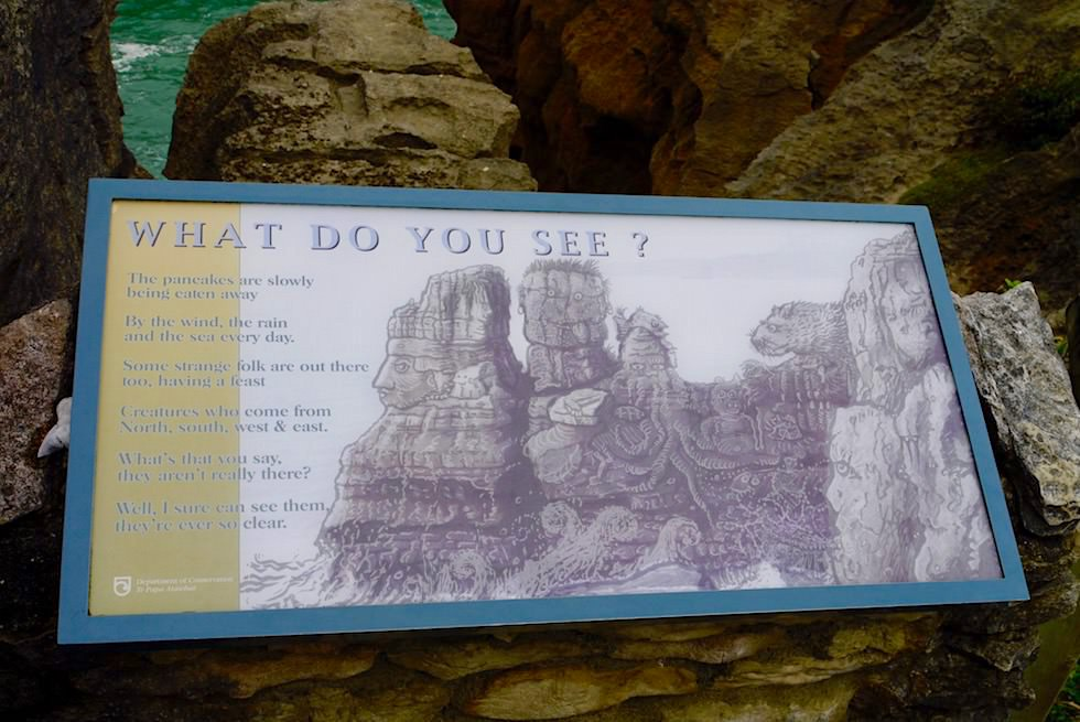 Pancake Rocks - Schautafel: What Do You See - Südinsel Neuseeland