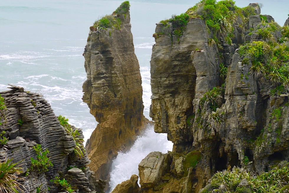 Pancake Rocks - Wind Wellen - Paparoa National Park an der Westküste bei Punakaiki - Südinsel Neuseeland