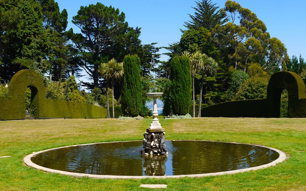 Larnach Castel Water Fountain Otago Peninsula near Dunedin