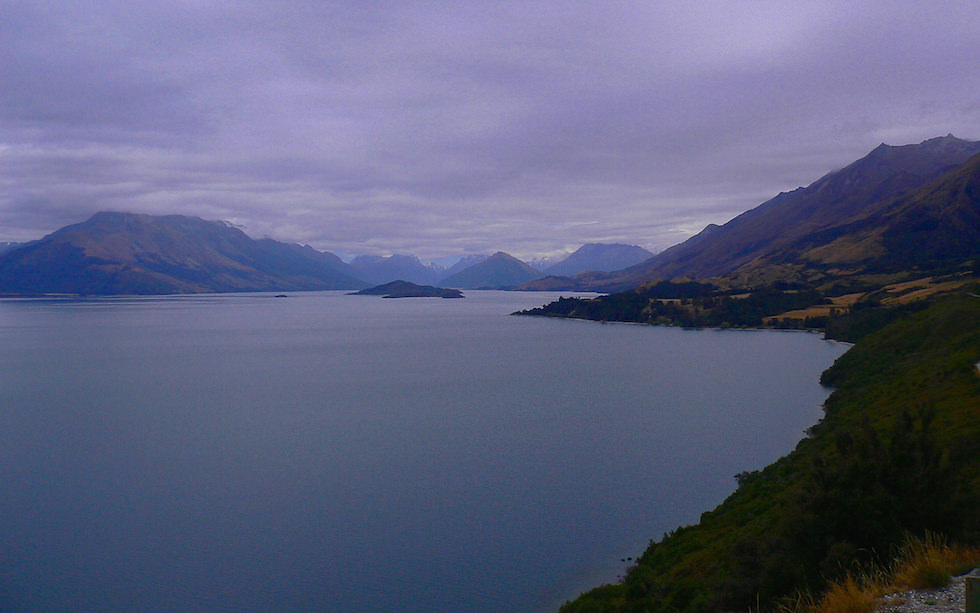 Beautiful Lake Wakatipu at a rainy day South Island NZ