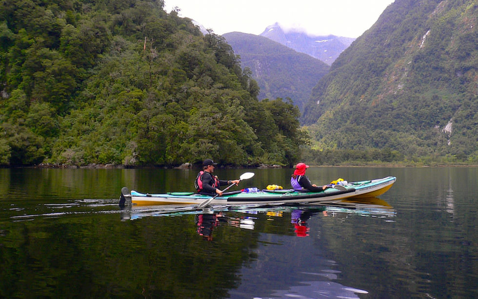 Kayaking at Doubtful Sound in Fiordland National Park