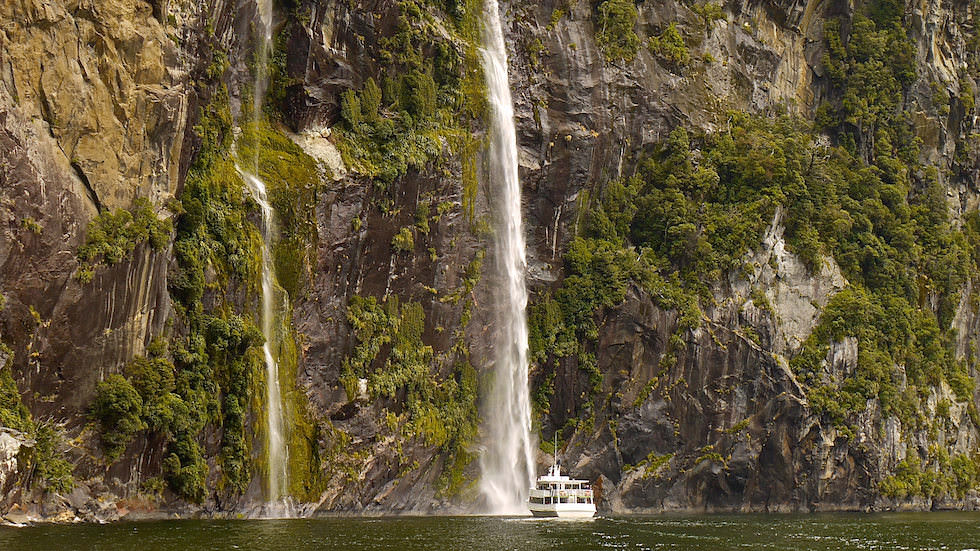 Waterfall at Milford Sound South Island New Zealand