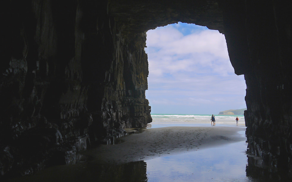 View from inside Cathedral Cave Entrance Catlins New Zealand South Island