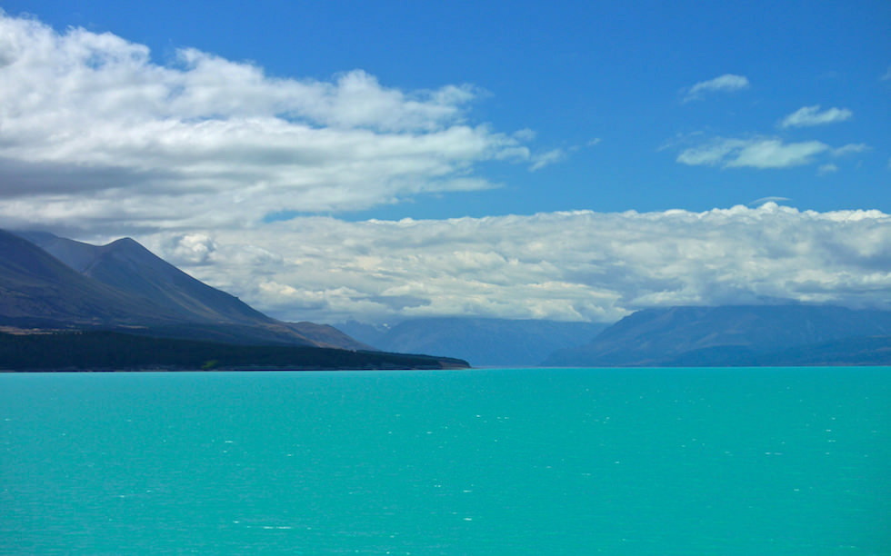 View of Mt. Cook from beautiful Lake Pukaki Southern Island NZ