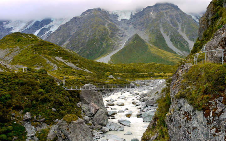 Hanging Bridge at Hooker Valley Walk near Mt. Cook South Island NZ