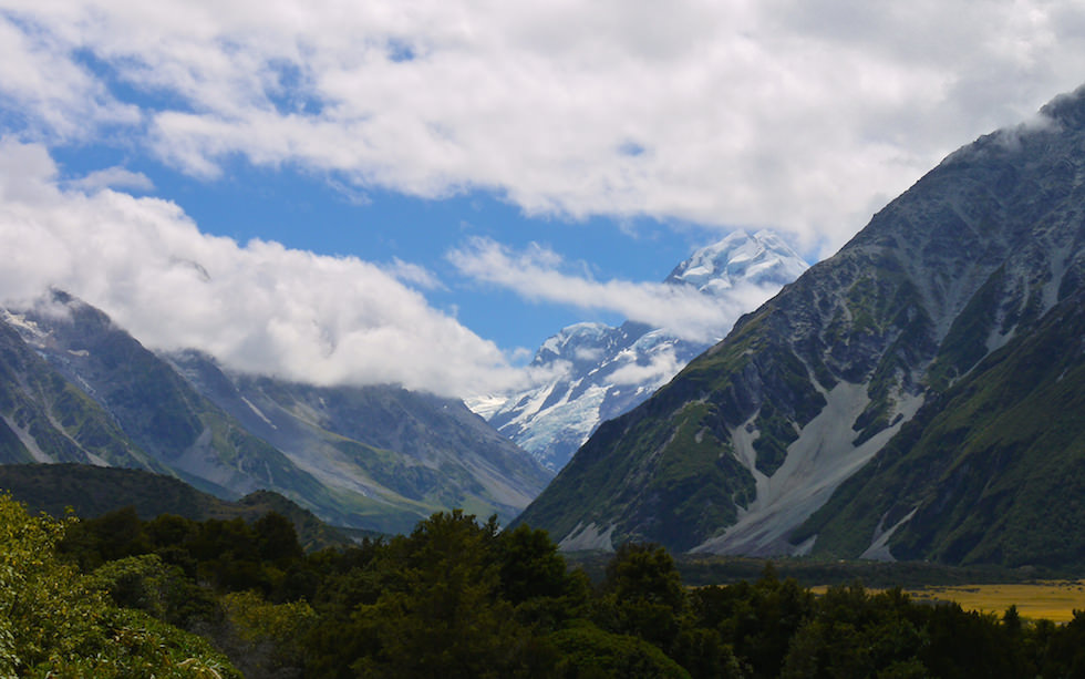 View from Mt Cook village Aoraki - Mt Cook in the background