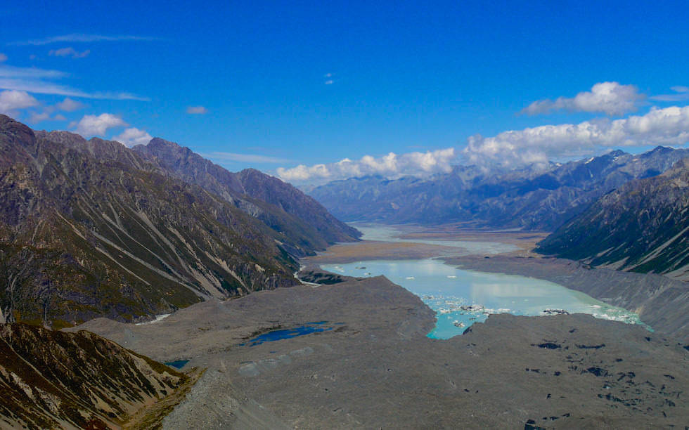 South end of Tasman Glacier tongue and Tasman Glacier Lake