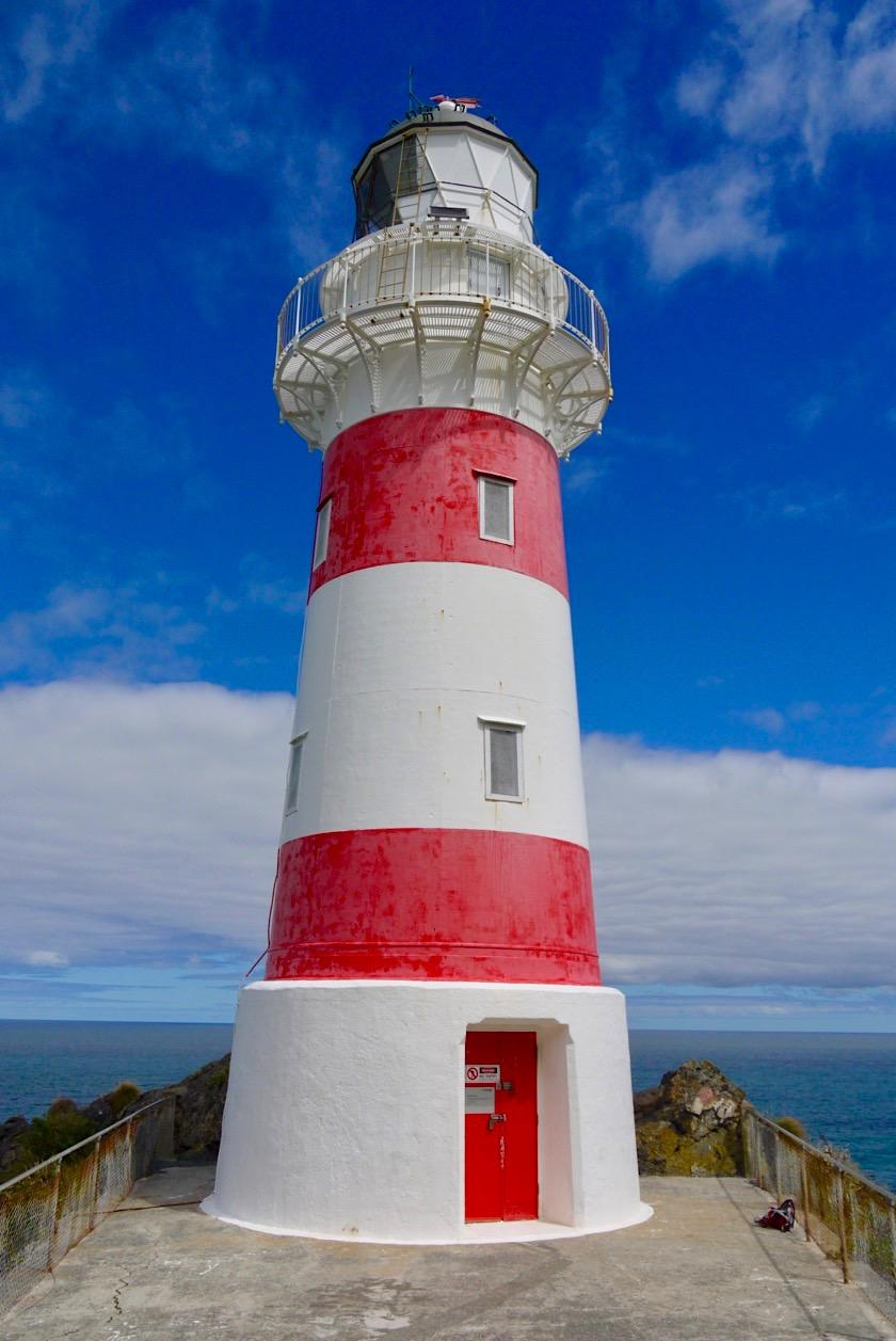 Zauberschöner Cape Palliser Lighthouse - wie aus einem Bilderbuch oder Gemälde entsprungen - Nordinsel, Neuseeland