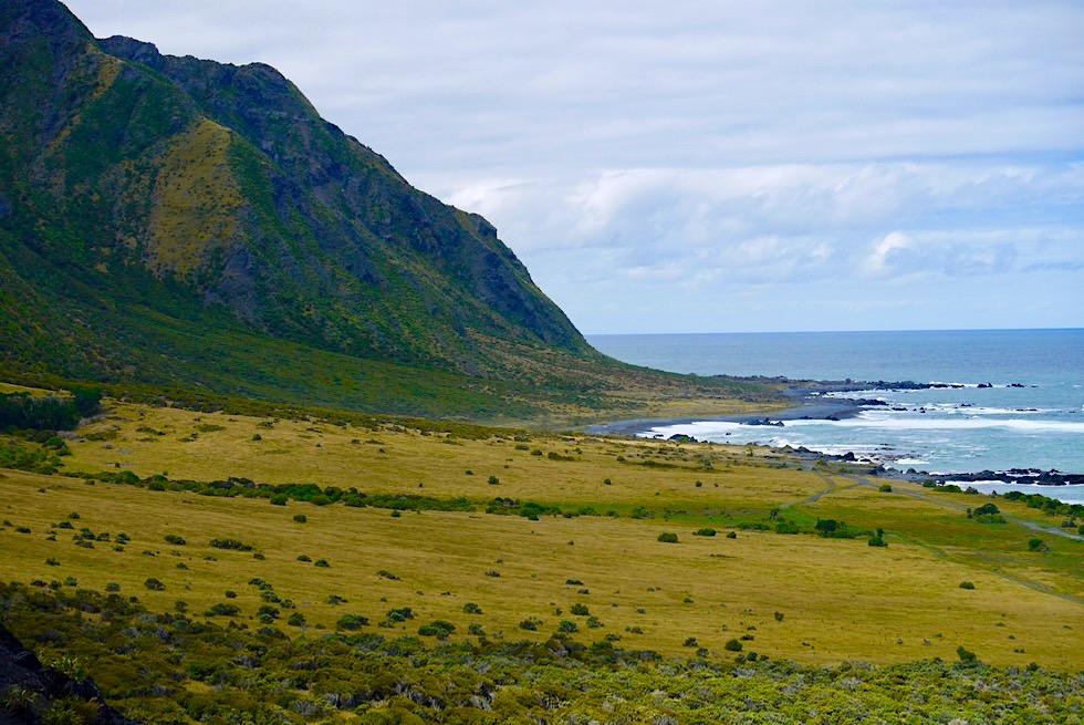 Cape Palliser Lighthouse - Blick Richtung Osten auf den südlichen Ausläufer derAorangi Range - Nordinsel, Neuseeland