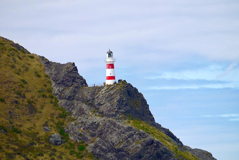 Der südlichste Punkt der Nordinsel: Cape Palliser Lighthouse erstrahlt von weitem - Neuseeland
