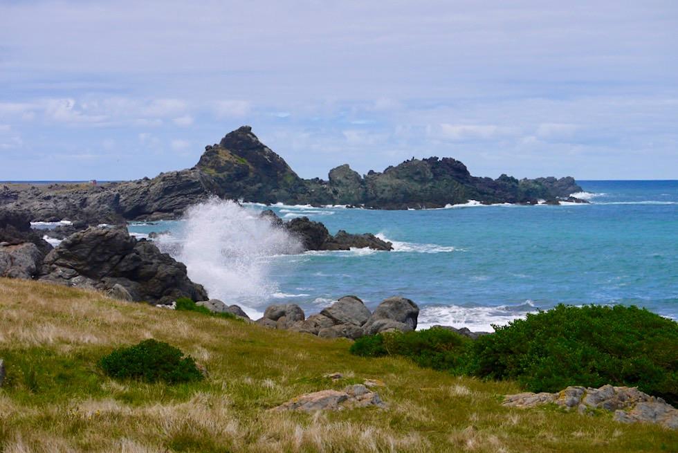 Cape Palliser - Raue, stürmische Felsküste am südlichsten Punkt der Nordinsel von Neuseeland
