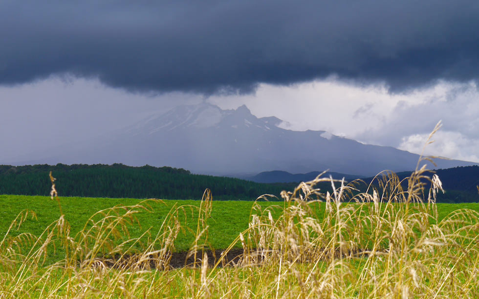 view to Mount Ruapehu Tongariro National Park from Taihape Road & Erewhon Road NZ