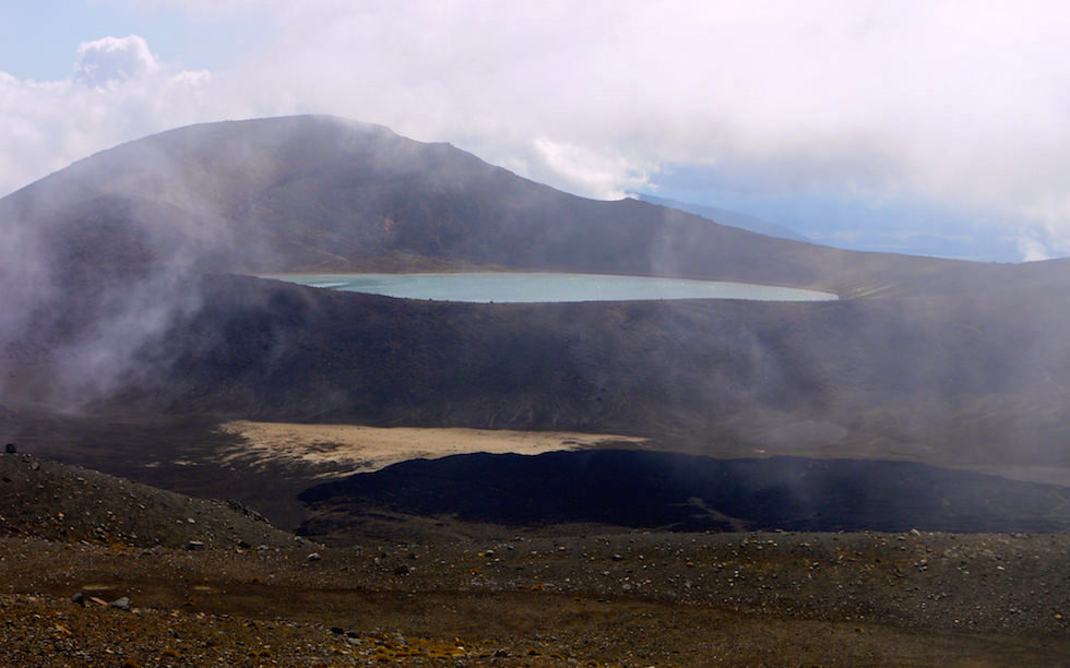 Blue Lake seen from Tongariro Crossing - Tongariro National Park - North Island NZ