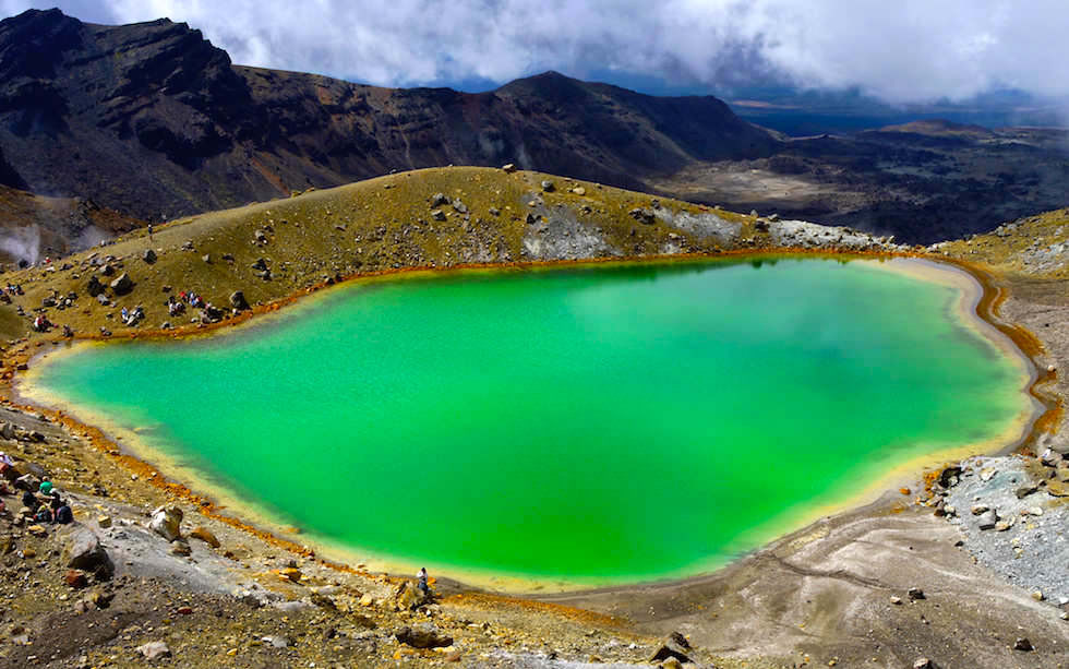 Emerald Lakes seen from Tongariro Crossing - Tongariro National Park - North Island NZ