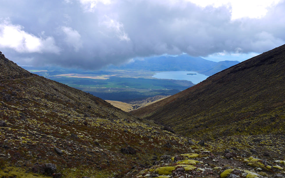 View on lake area from Tongariro Crossing - Tongariro National Park - North Island NZ