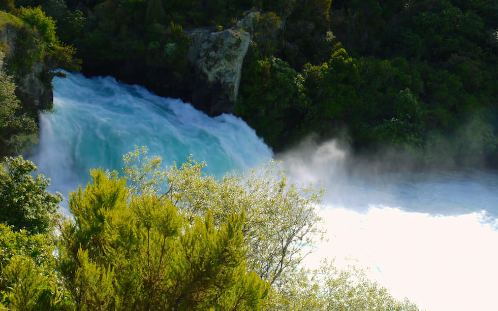 View on Huka Falls near Lake Taupo North Island NZ