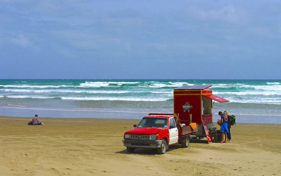 Coffee to go at Ninety Mile Beach North Island NZ