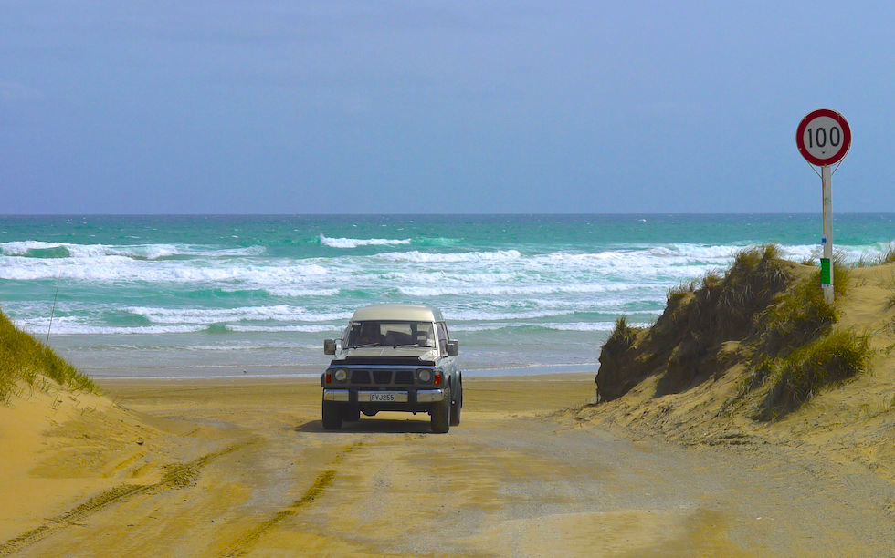 Fishing at Ninety Mile Beach North Island NZ