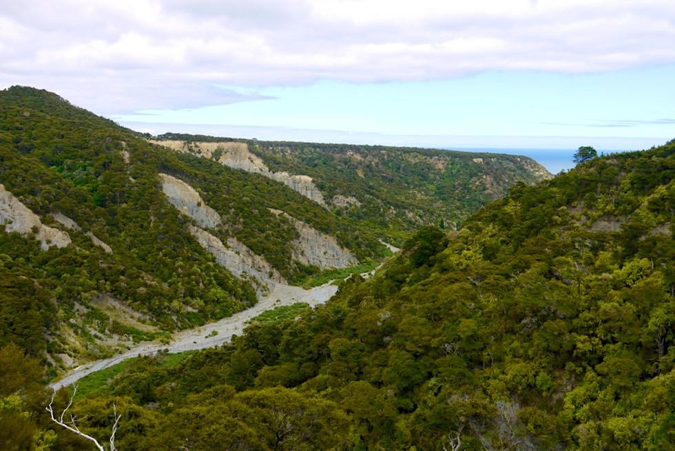 Putangirua Pinnacles - Großartiger Ausblick auf die Schlucht & Pazifik - Südküste Nordinsel, Neuseeland