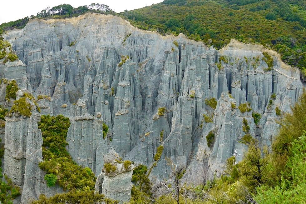 Putangirua Pinnacles - Grandioser Ausblick vom Lookout auf die Herr der Ringe Kulisse - Nahe Cape Palliser - Nordinsel, Neuseeland
