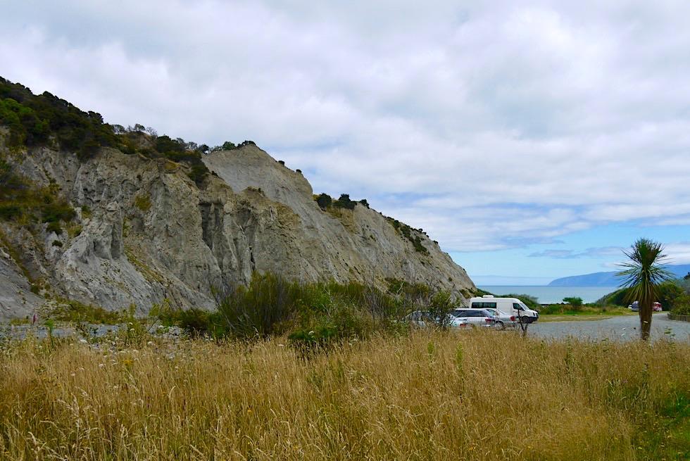 Putangirua Pinnacles - Parkplatz & schöner DOC Campground daneben - Palliser Bay - Nordinsel, Neuseeland