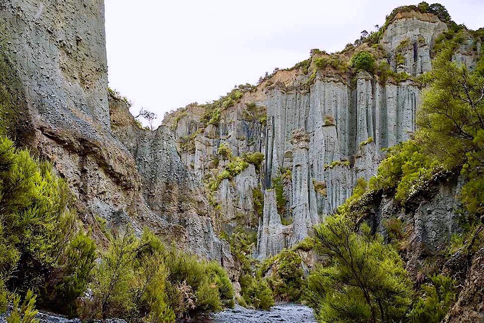 Putangirua Pinnacles - Schluchtenwanderung entlang der Talsohle - Nordinsel, Neuseeland