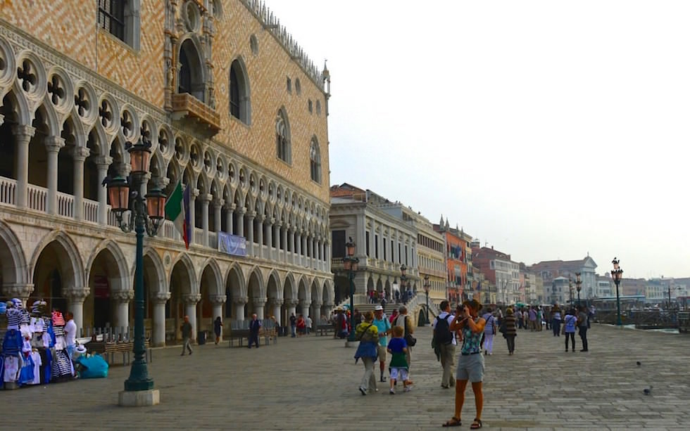 Waterfront view of Doces Palace in Venice Italy