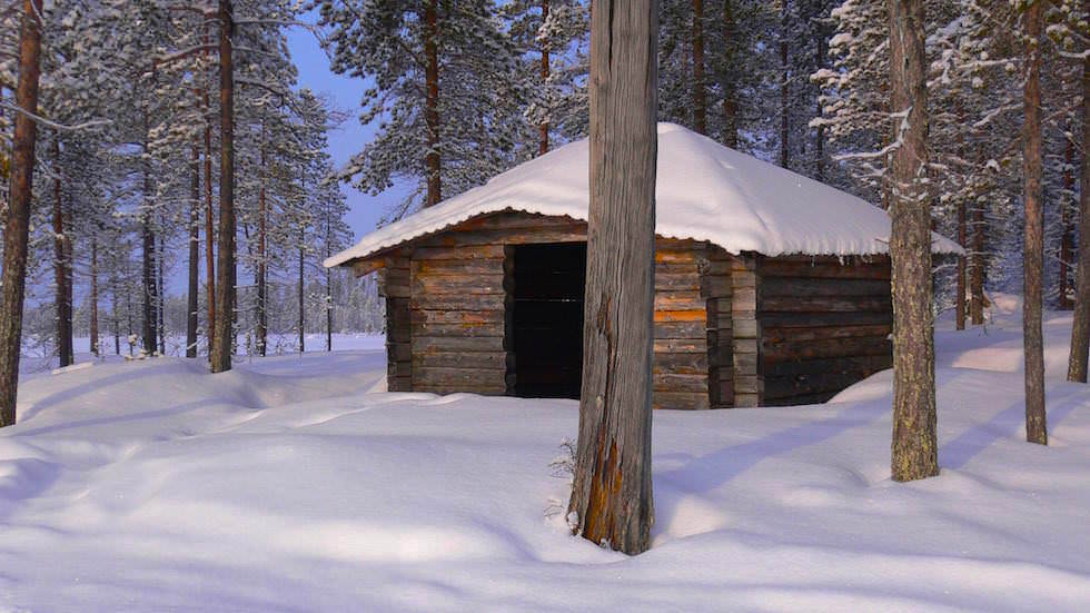 Windschutzhütte - Husky Abenteuer Lappland