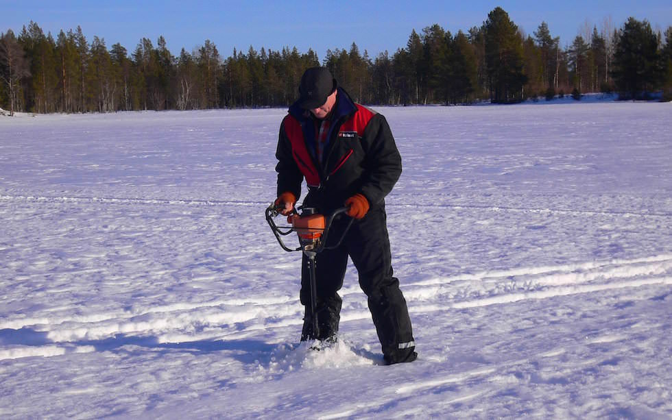 Ice fishing - Lappland in winter