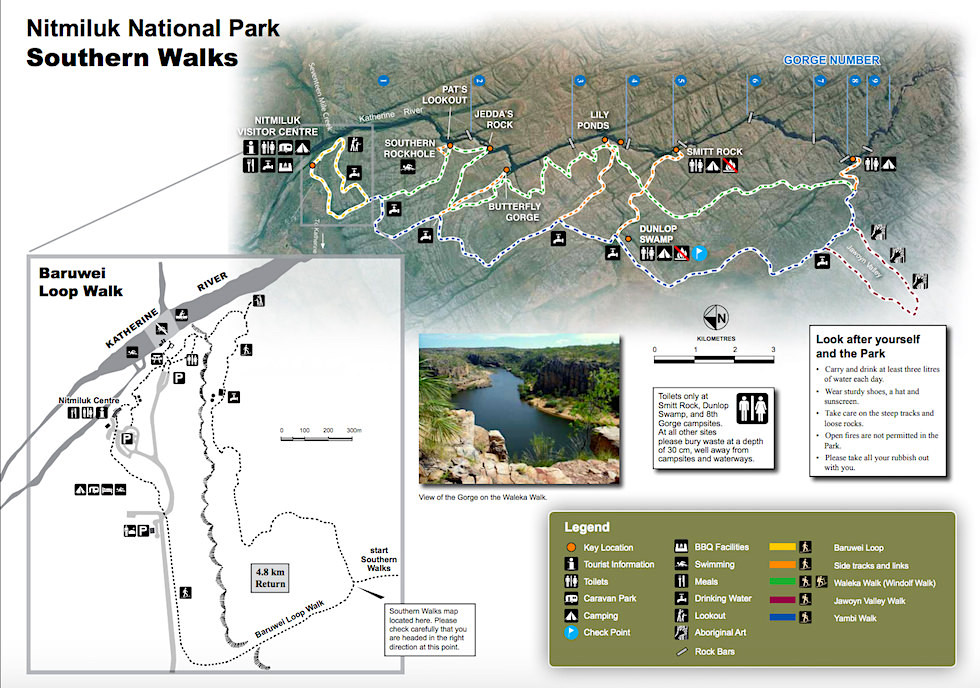 Katherine Gorge - Wanderkarte - Nitmiluk National Park - Northern Territory
