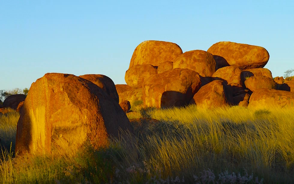 Sunset Devil Marbles Center Australia Northern Territory