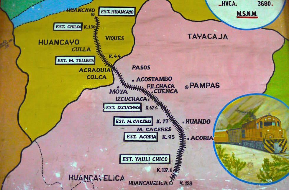 Map Huancayo Huancavelica mit Zug El Tren Macho