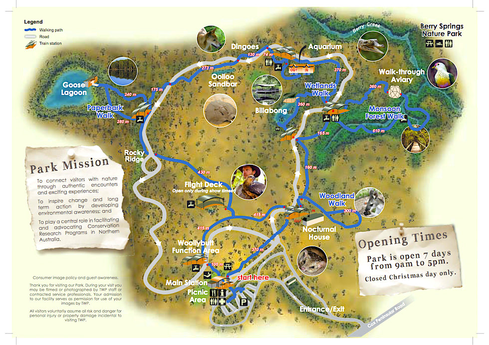 Territory Wildlife Park - Umgebungskarte mit den Parkhighlights - Northern Territory