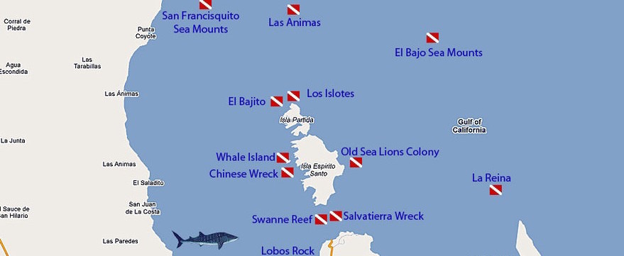 Dive map Bay of La Paz Baja California