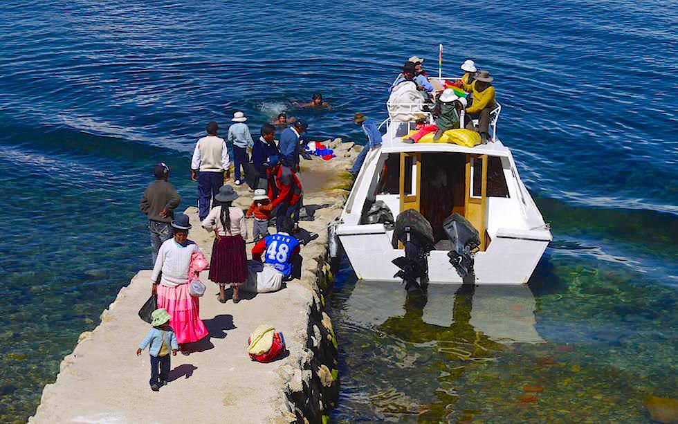 Isla del Sol im Titicaca See - Bootsanleger in Yumani
