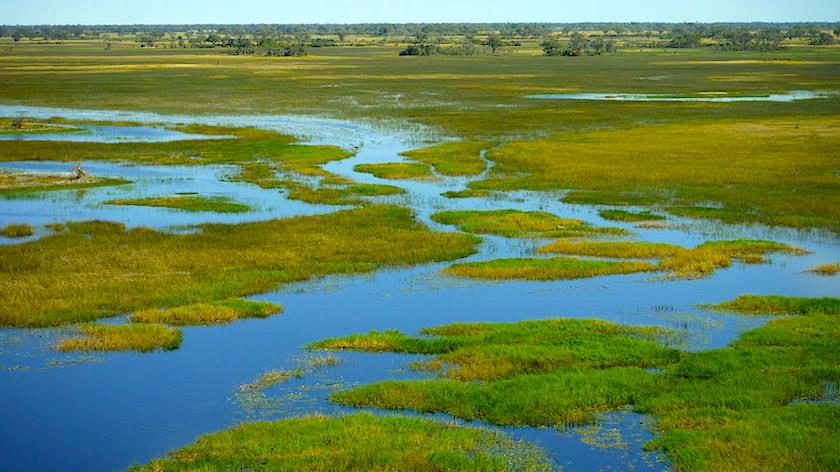 Naturparadies Okavango Delta ein Helikopter Flug von Maun, Botswana