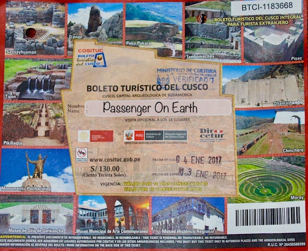 Boleto Touristico Cusco - Günstigste Möglichkeit sich die Inkastätten rund um Cusco anzusehen - Peru