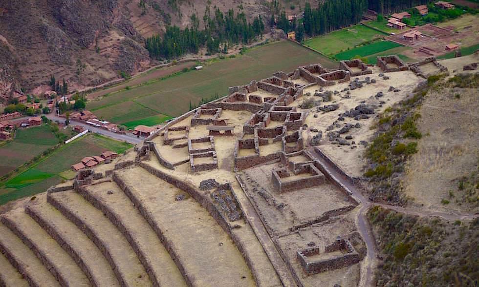 Blick auf die Terrassen von Pisaq - Valle Sagrado - Heiliges Tal bei Cusco - Peru