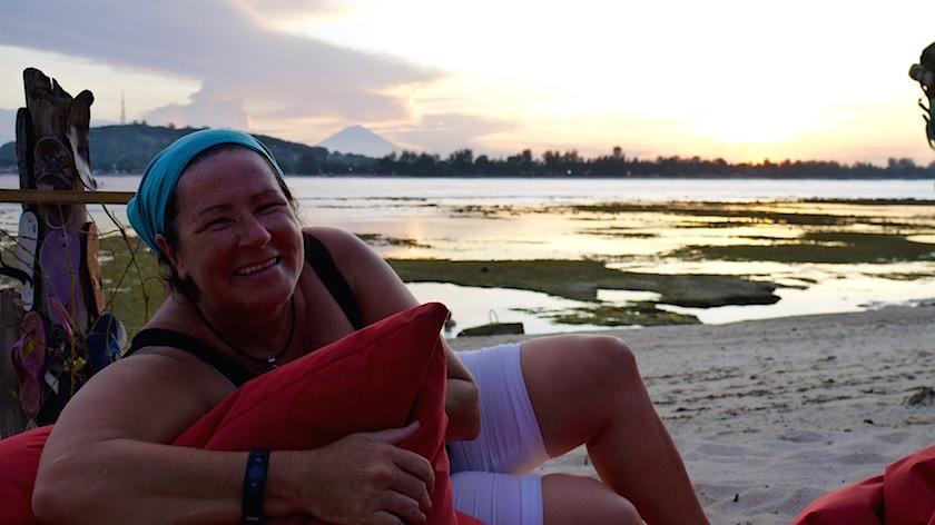 Warten auf Sonnenuntergang Gili Meno Indonesien