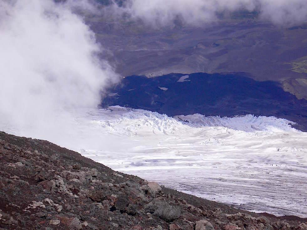 Blick vom Krater -Vulkan Villarrica - Pucon - Chile
