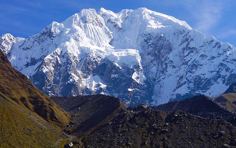 Blick auf Salkantay vom Salkantay Trek Peru zum Machu Picchu