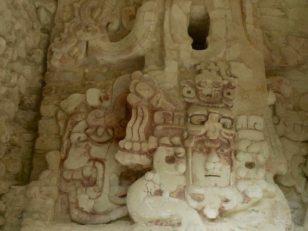 Sun God Kinichna - Gebäude X - Maya Stätte von Becan, Campeche, Yucatán - Mexiko