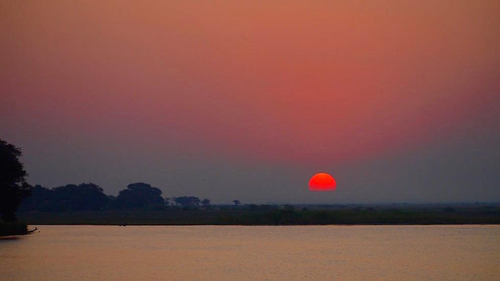 Sunset Zambesi River Zambia Afrika