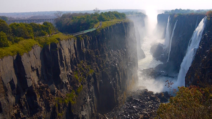 Blick auf die Victoria Falls von Livingstone Zambia, Afrika