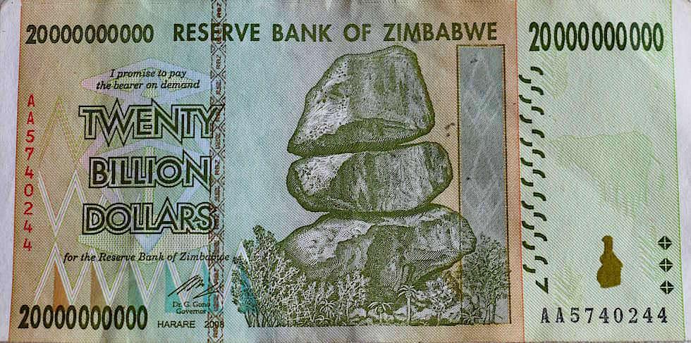 Geldschein Inflation Zimbabwe Dollar