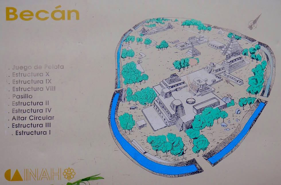 Übersichtskarte - Maya Stätte von Becan, Campeche - Mexiko