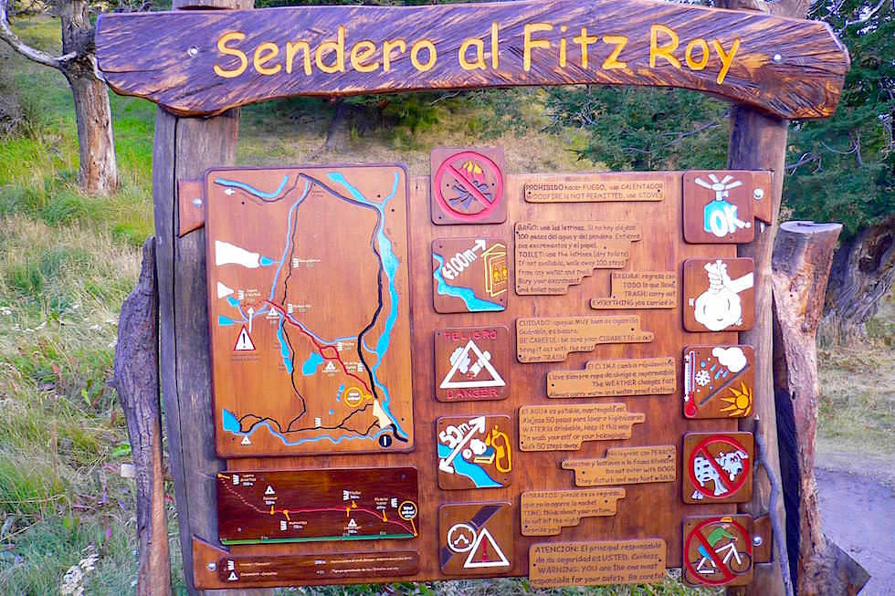 Holztafel Start Fitz Roy - Patagonien Argentinien
